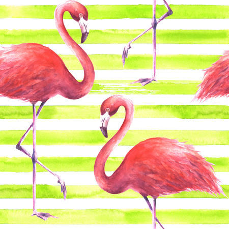Tropical exotic pink flamingos on horizontal striped lemon green and white background. Watercolor hand drawn illustration. Seamless pattern for wrapping, wallpaper, textile, fabric.