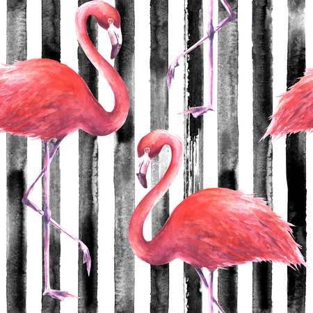 Tropical exotic pink flamingos on vertical striped black and white background. Watercolor hand drawn illustration. Seamless pattern for wrapping, wallpaper, textile, fabric. Zdjęcie Seryjne