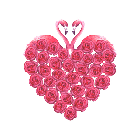 Couple of tropical exotic pink flamingos and roses heart isolated on white background. Watercolor hand drawn illustration.