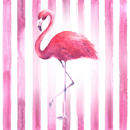 Tropical exotic pink flamingo on vertical striped pink and white background. Watercolor hand drawn illustration.