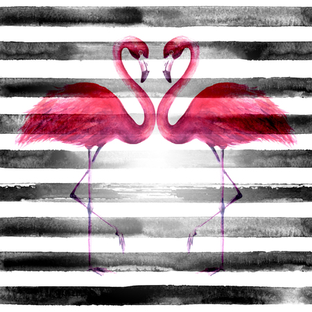 Couple of tropical exotic pink flamingos on horizontal striped black and white background. Watercolor hand drawn illustration. Seamless pattern.
