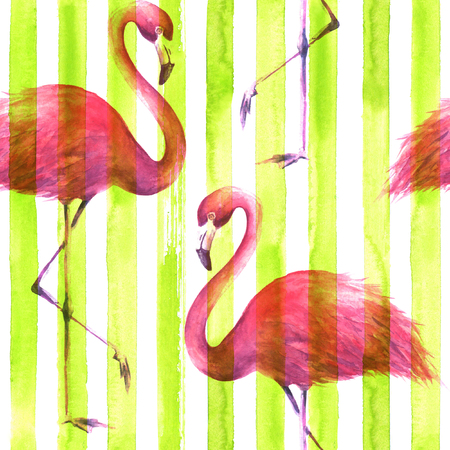 Tropical exotic pink flamingos on vertical striped lemon green and white background. Watercolor hand drawn illustration. Seamless pattern for wrapping, wallpaper, textile, fabric.