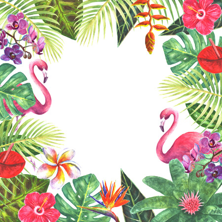 Pink flamingo birds exotic tropical jungle rain forest bright green plants flowers border frame template on white background. Watercolor hand drawn natural botanical classic illustration for wedding invitations, greeting cards.