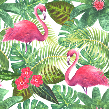 Natural background. Tropical exotic pink flamingos, green leaves, branches and bright flowers on white background. Watercolor hand drawn illustration. Seamless pattern for wrapping, wallpaper, textile, fabric. Stock Photo