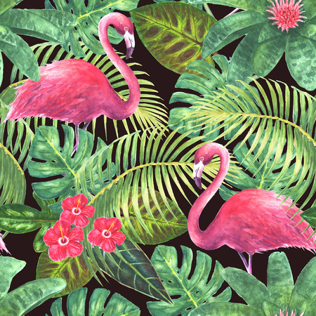 Paradise background. Tropical exotic pink flamingos, green leaves, branches and bright flowers on dark background. Watercolor hand drawn illustration. Seamless pattern for wrapping, wallpaper, textile, fabric.