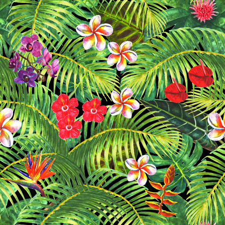 Paradise background. Tropical exotic plants, green leaves, branches and bright flowers on black background. Watercolor hand drawn illustration. Seamless pattern for wrapping, wallpaper, textile, fabric.