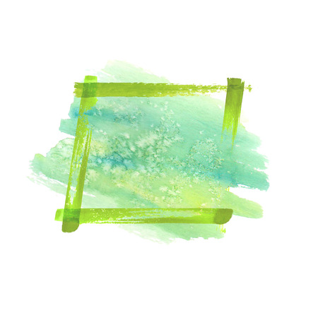 Green watercolor grunge frame with watercolor stain. Hand drawn watercolour vintage abstract greeb textured brush strokes frame isolated on white background with space for text.