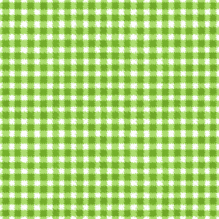 Green and white grunge gingham tartan plaid ripply abstract geometric seamless pattern background. Hand drawn seamless texture. Wallpaper, wrapping, textile, fabric