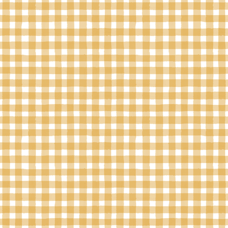 Yellow and white grunge gingham plaid abstract geometric seamless pattern background. Hand drawn seamless texture. Wallpaper, wrapping, textile, fabric Stock fotó