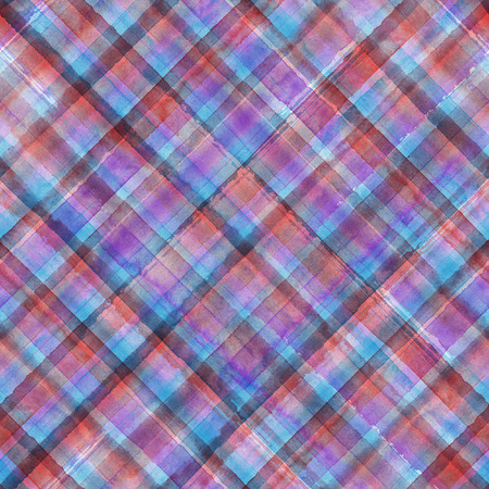 Colorful grunge madras tartan plaid diagonal abstract geometric seamless background. Watercolor hand drawn seamless pattern with purple red blue and pink stripes. Wallpaper, wrapping, textile, fabric