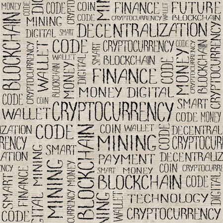 Cryptocurrency concept. Blockchain finance web money business, cryptocurrency banking money transfer technology texture. Cryptocurrency concept words black seamless pattern on unreadable newspaper background. Stock Photo