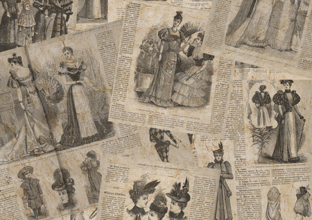 Vintage fashion newspaper texture. Collage of woman retro old fashion newspaper magazines with female clothes of 1893 Paris. Horizontal background