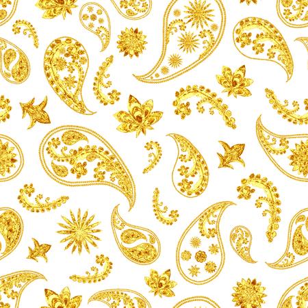 Paisley gold seamless pattern. Hand drawn golden traditional asian ethnic oriental arabic indian floral paisley batik elements ornament on white background. Ornamental elegant fashion textile print Stock Photo
