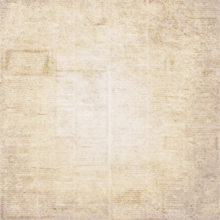 Vintage old newspaper texture background. Blurred vintage newspaper background. A blur unreadable old newspaper page with advertisements. Gray beige brown yellow grunge newspaper square background Stock Photo