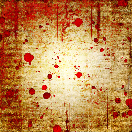 Bloody blood red grunge background. Vntage abstract texture background. Watercolor hand drawn aged pattern with space for text and red blood blots. Red yellow watercolour illustration. Art rough style