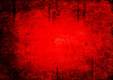 Bloody blood red grunge background. Vntage abstract texture background. Watercolor hand drawn aged pattern with space for text and red blood blots. Red watercolour illustration. Art rough urban style.