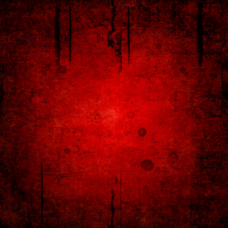 Bloody blood red grunge background. Vntage abstract texture background. Watercolor hand drawn aged pattern with space for text and red blood blots. Dark red watercolour illustration. Art rough style