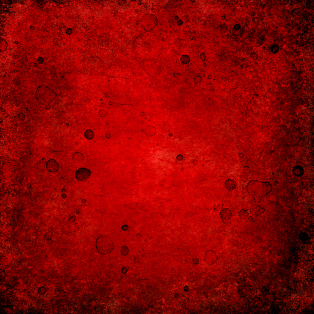 Bloody blood red grunge square background. Vntage abstract texture background. Watercolor hand drawn aged pattern with space for text and red blood blots. Red watercolour illustration. Art rough style Фото со стока