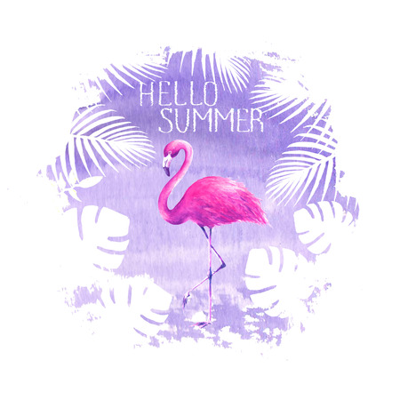 Hello summer lettering pink flamingo purple poster banner hand drawn watercolor spot illustration. Tropical bird flamingo, tropical exotic plants. Concept summer holiday vacation poster design.