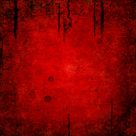 Bloody blood red grunge background. Vntage abstract texture background. Watercolor hand drawn aged pattern with space for text and red blood blots. Red watercolour illustration. Art rough urban style