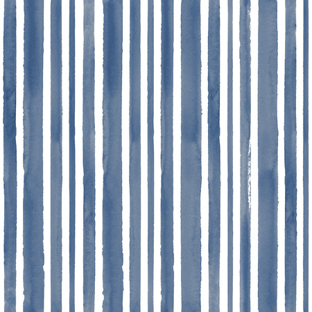 Watercolor striped blue seamless pattern texture background. Watercolour hand drawn stripe textured irregular abstract modern trendy illustration. Print for wrapping, textile, fabric, wallpaper.