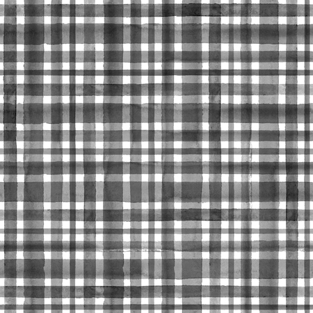 Watercolor black white stripe plaid gingham seamless pattern background. Watercolour hand drawn striped textured irregular modern trendy illustration. Print for wrapping, textile, fabric, wallpaper Banco de Imagens