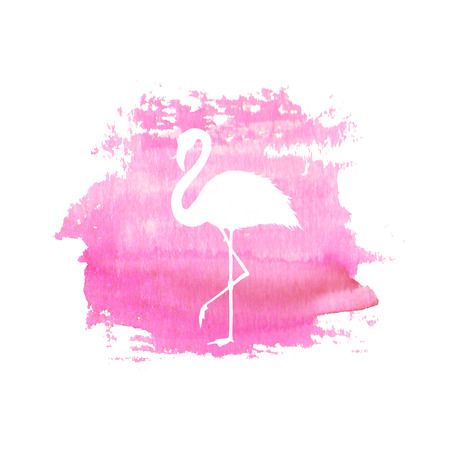 Silhouette of flamingo on pink watercolor hand drawn spot. Tropical exotic bird flamingo isolated on spot background. Watercolor hand drawn illustration. Illustration
