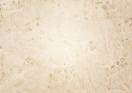 Vieux fond de texture de papier journal grunge. Arrière-plan flou de journal vintage. Page texturée de papier flou vieilli avec place pour le texte ou l'image. Fond de papier de nouvelles de collage sépia. Banque d'images