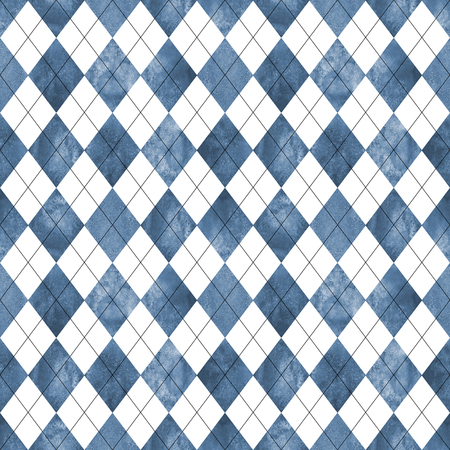 Argyle seamless plaid pattern. Watercolor hand drawn blue navy white texture background. Watercolour diamond shapes background. Print for cloth design, textile, fabric, wallpaper, wrapping, tile.