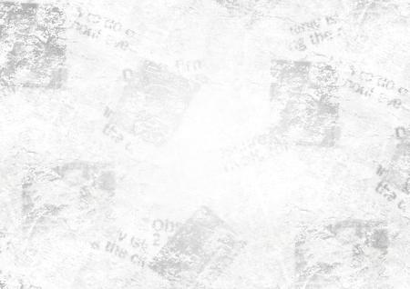Old grunge newspaper collage paper texture horizontal background. Blurred vintage newspaper background. Scratched paper textured page. Gray collage news paper background.