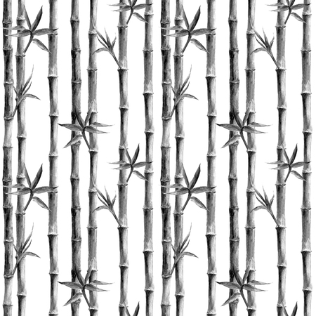 Black and white bamboo stems and leaves seamless pattern on white background. Watercolor hand drawn botanical illustration. Print for textile, wallpaper, wrapping