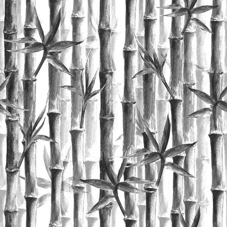 Black and white bamboo forest seamless pattern on white background. Watercolor hand drawn botanical illustration. Print for textile, wallpaper, wrapping