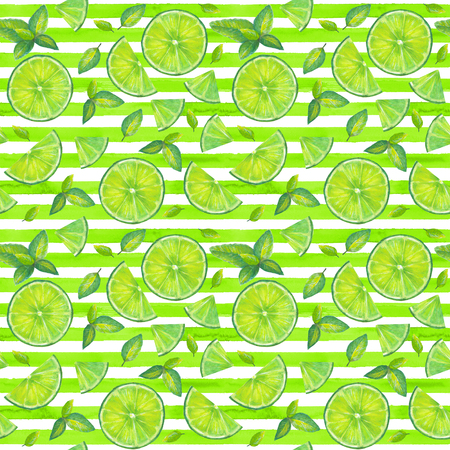 Lime slices and mint leaves seamless pattern on yellow green and white stripes background. Summer bright background. Watercolor hand drawn cocktail color mojito texture with tropical organic citrus slices. Фото со стока
