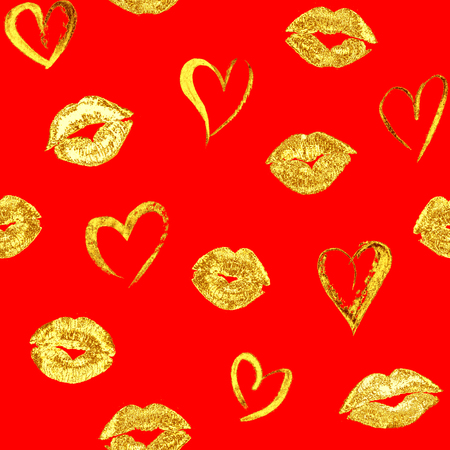 Seamless romantic pattern with beautiful gold lips kiss traces and hearts on red background. Golden lipstick marks endless fashion texture template. For fabric, textile, wrapping, wallpaper
