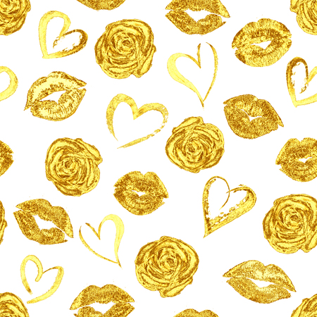 Seamless romantic pattern with beautiful gold lips kiss traces, roses and hearts on white background. Golden lipstick marks endless fashion texture template. For fabric, textile, wrapping, wallpaper Фото со стока