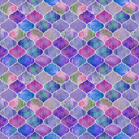 Vintage decorative moroccan seamless pattern. Watercolor hand drawn colorful purple endless texture background. Watercolour geometrical oriental elements. Print for textile, wallpaper, wrapping
