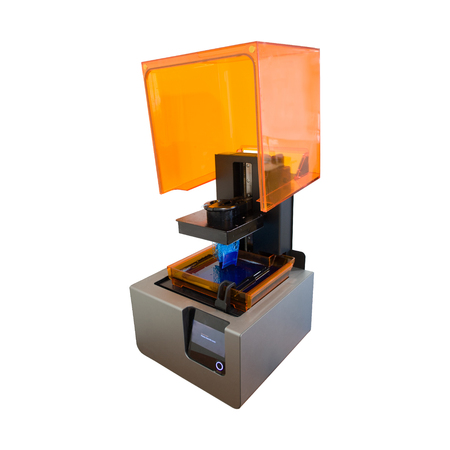 3D printing process. Modern 3D print technology. Working 3d printer machine printing a detail. Isolated on white background. 版權商用圖片