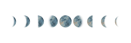 Moon phases set watercolor gray blue isolated on white background. Watercolour hand drawn earth satellite moon magic art work illustration. Abstract planet ball