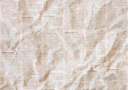 Old crumpled grunge newspaper paper texture background. Blurred vintage newspaper background. Crumpled paper textured page. Sepia color collage news paper background. Illustration