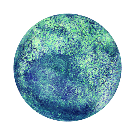 Earth planet globe blue green watercolor isolated on white background. Watercolour hand drawn globe illustration. Abstract planet disk disc. Ecological Eco Environment Protection concept.
