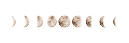 Moon phases set watercolor beige gray isolated on white background. Watercolour hand drawn earth satellite moon magic art work illustration. Abstract planet ball