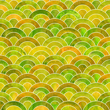 Fish scale ocean wave japanese seamless pattern. Watercolor hand drawn green yellow colorful texture background. Watercolour geometrical scale shaped elements. Print for textile, wallpaper, wrapping Stock Photo