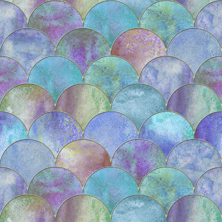 Mermaid fish scale wave japanese luxury colorful seamless pattern. Watercolor hand drawn purple blue background with gold line. Watercolour scale shaped texture. Print for textile, wallpaper, wrapping