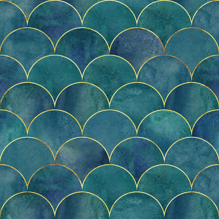 Mermaid fish scale wave japanese luxury seamless pattern. Watercolor hand drawn dark blue teal green background with gold line. Watercolour scale shaped texture. Print for textile, wallpaper, wrapping