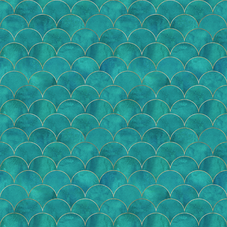 Mermaid fish scale wave japanese luxury seamless pattern. Watercolor hand drawn dark teal turquoise background with gold line. Watercolour scale shaped texture. Print for textile, wallpaper, wrapping Banque d'images