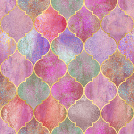 Vintage decorative moroccan seamless pattern with gold line. Watercolor hand drawn colorful stained-glass window design. Watercolour geometrical oriental elements. Print for textile wallpaper wrapping 스톡 콘텐츠