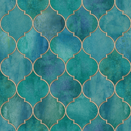Vintage decorative moroccan seamless pattern with gold contour line Watercolor hand drawn dark teal blue stained-glass window design. Watercolour oriental elements Print for textile wallpaper wrapping