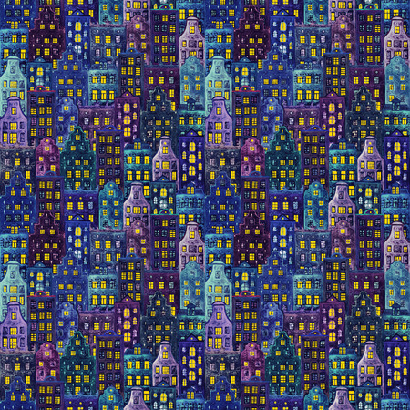 Old europe houses. Seamless pattern of watercolour color european amsterdam style houses with light in the windows. Watercolor hand drawn night city background. Print for textile, wallpaper, wrapping. Imagens