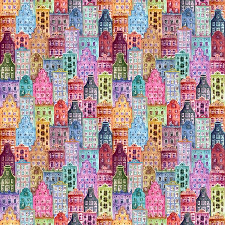 Old europe houses. Seamless pattern of watercolour colorful european amsterdam style houses. Watercolor hand drawn Netherlands stylized facades of old buildings background. Template illustration. Imagens