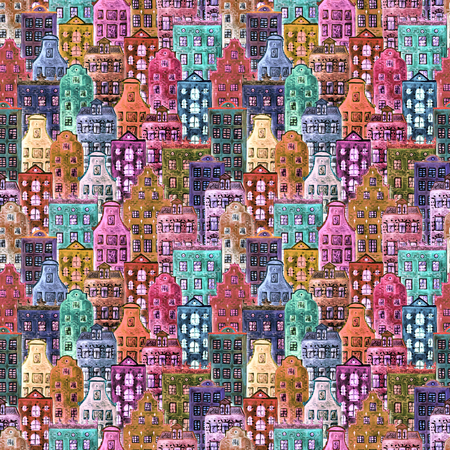 Watercolor old europe houses. Seamless pattern of colorful european amsterdam style houses. Watercolour hand drawn Netherlands stylized facades of old buildings background. Template illustration.